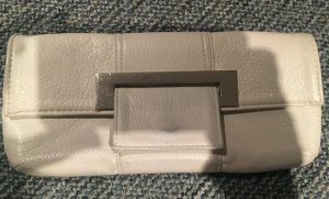 Damen Clutch Handtasche Weiß Silber