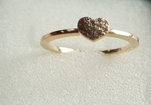Damen Diamant Herzförmiger Ring 9k