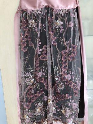 Damen Dirndl Schürze Extravagant Rosa Pailetten Perlen 70 cm wie Neu Gr 36 38
