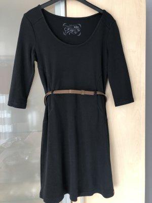 Damen EDC By Esprit Kleid Gr M 38 Schwarz mit braunen Gürtel