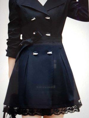 Damen Elegante Zweireihiger Gurt Taillen Spitze Rand Windbreaker Graben Mantel