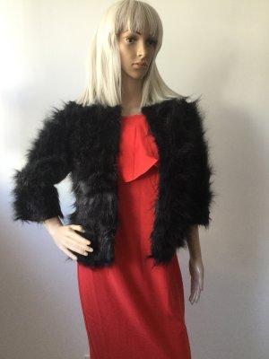 Damen Faux-fur-Jacke Kunstfelljacke mit 3/4 Ärmeln in Schwarz Gr.S