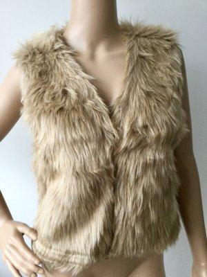 Smanicato di pelliccia color cammello-crema