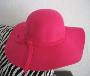 Zachte hoed magenta Wol