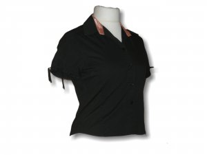 Short Sleeved Blouse black-pink cotton