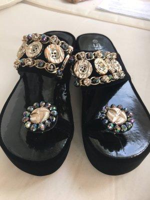 Damen Gold Bling Sandalen schwarz Gold 39