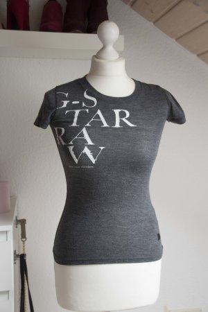 Damen GStar XS 34 Shirt G-Star kurzarm grau Oberteil Raw Aufdruck Sommer Blogger