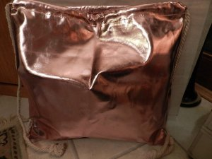 Damen Gymbag in metallic rosé Schultertasche - NEU