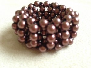 Damen Haarschmuck Haargummi mit Perlen metallic -braun  NEU!