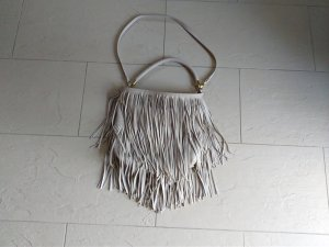 H&M Fringed Bag silver-colored leather