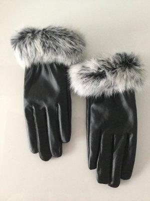 Handschoenen van imitatieleder zwart-lichtgrijs