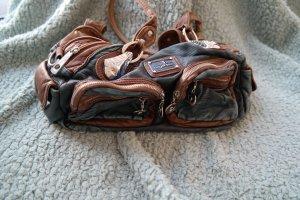 Sac à main brun-bleu acier