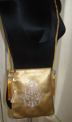Canvas Bag gold-colored imitation leather