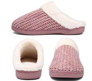 Damen Hausschuhe Memory Foam Winter Pantoffeln Rosa Weiß NEU Größe 38 39