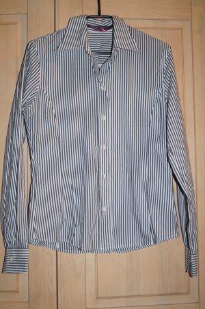 Damen Hemd- Bluse, grau/weiß gestreift