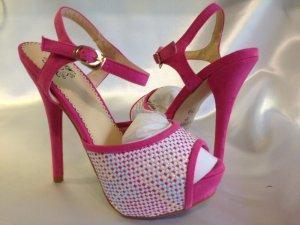 Damen High Heels Pumps Sandaletten Party gr.36 Plateau Wildleder Rosa