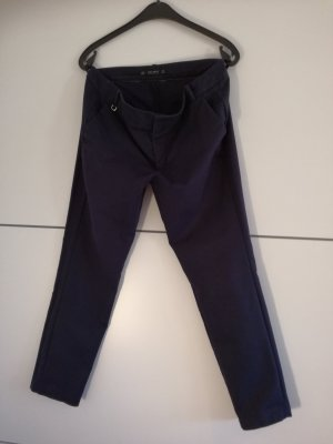 Zara Basic Pantalón tobillero azul oscuro Algodón
