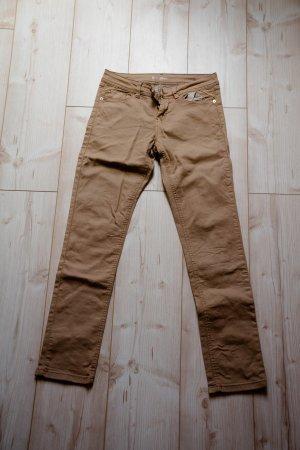 Damen Hose 36 38 S Slim Stretch Röhrenhose Jeans braun cognac Büro bequem Sommer