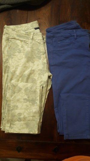 Esprit Drainpipe Trousers steel blue cotton