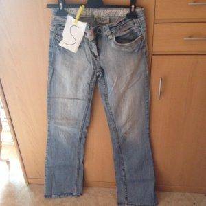 Jeans a zampa d'elefante azzurro Lycra
