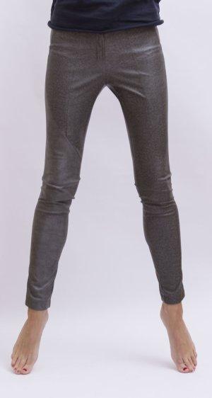 Anna Rita N Pantalon en cuir argenté-gris polyuréthane