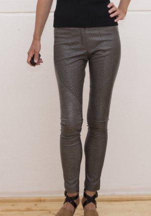 Anna Rita N Pantalón de cuero color plata-marrón grisáceo Poliuretano