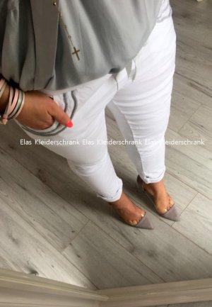 Damen Hose Sommerhose Hüfthose Jogpants Sweatpants BLING BLING Jogger Röhre Skinny weiß Blogger Hose passt S-L