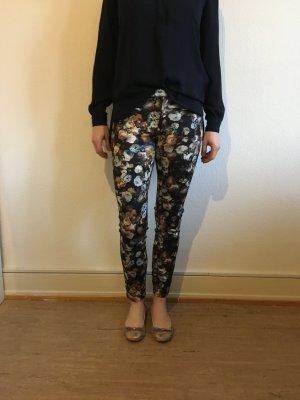 Damen Hosen Blumenmuster ZARA XS dunkelblau