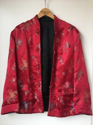 Damen Jacke asiatisch Blazer Kimono Trend Asia Rot Schwarz Vintage