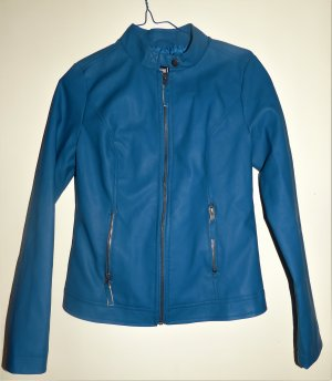Blazer en cuir bleu acier polyester