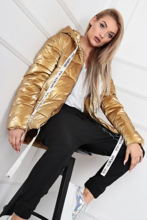 Down Jacket gold-colored-white
