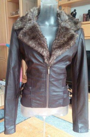 Damen Jacke Leder Imitat Fell Besatz Gr.38 in Braun von Tally Weijl