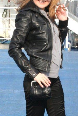 Damen Jacke Lederjacke von Mango Größe XS S 34 36 schwarz