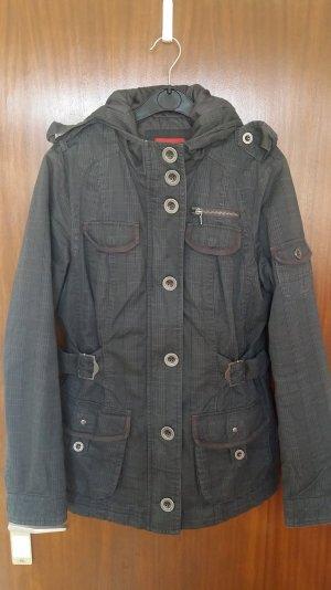 Damen Jacke Parka mit Kapuze in grau-schwarz Gr. 36 von Yessica