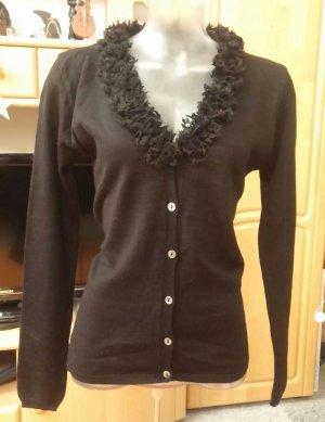 Damen Jacke Woll strick Fransen Kragen Gr.M in Schwarz  von Staccato NW