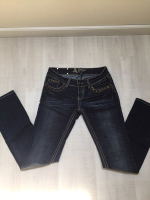 Antiquet Rivet Slim Jeans dark blue cotton