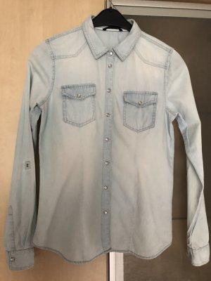Damen Jeans Hemd Bluse Gr 38 Only Hellblau