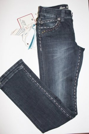 Amor, Trust & Truth Boot Cut Jeans dark blue-white mixture fibre