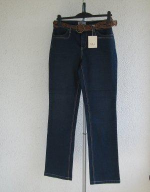 John Baner Pantalon cinq poches bleu foncé coton