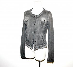 Damen Jeansjacke mit Pailletten in grau von Made in Italy Gr.38