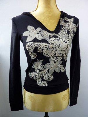 Damen Kapuzen Pullover Hoodie Langarm schwarz Spitze Design Glitter 32 34 XS