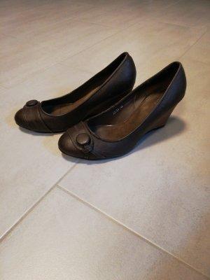 Damen Keilabsatz pumps, braun, Größe 40