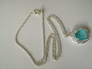 Chain silver-colored-light blue