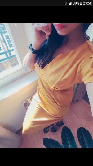 Damen Kleid Bleistift Businesskleid Reissverschluss NEU 40 L Senf