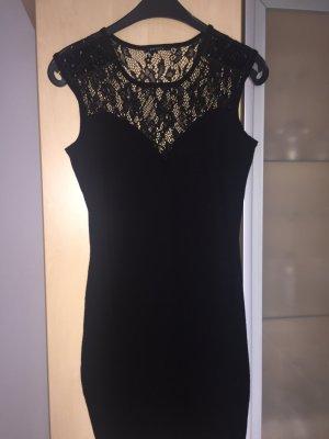 Damen Kleid Gr 36 Schwarz mit Spitze und Steinen Neu