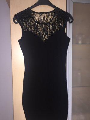 Damen Kleid Gr 36 Schwarz mit Spitze und Steinen Neu Orsay Neu Silvester