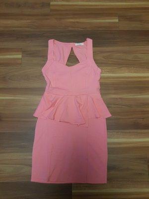 Damen Kleid Minikleid Schößchenkleid in lachs rosa Gr. S von Bershka