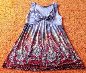 Robe empire argenté-rouge fluo