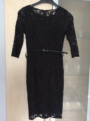 Damen Kleid Spitzenkleid Gr 36 S Schwarz Orsay mit Gürtel