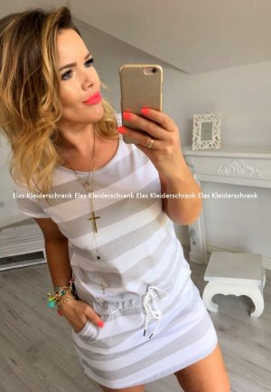 Damen Kleid Streifen / Stripes geringelt maritim Sailor Sweatkleid Sommerkleid Minikleid Abendkleid NEU passt bei S-L